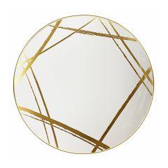 "CoupeWare Brush Stroke (White/Gold)  9"" Plates - 10 ct."