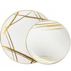 CoupeWare Brush Stroke (White/Gold)  Combo Plates - 32 ct.