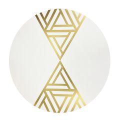 """CoupeWare Triangle Deco (White/Gold)  10.25"""" Plates - 10 ct."""