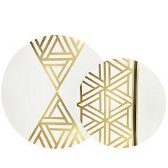 CoupeWare Triangle Deco (White/Gold)  Combo Plates - 32 ct.