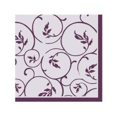 Dining Collection Cocktail Napkins - Plum Curlicue - 20 ct.