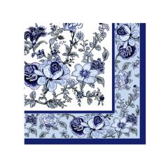 Dining Collection Cocktail Napkins - Blue Bountiful Blossoms - 20 ct.