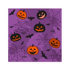 Halloween Cocktail Napkins - Collage Purple - 20 ct.