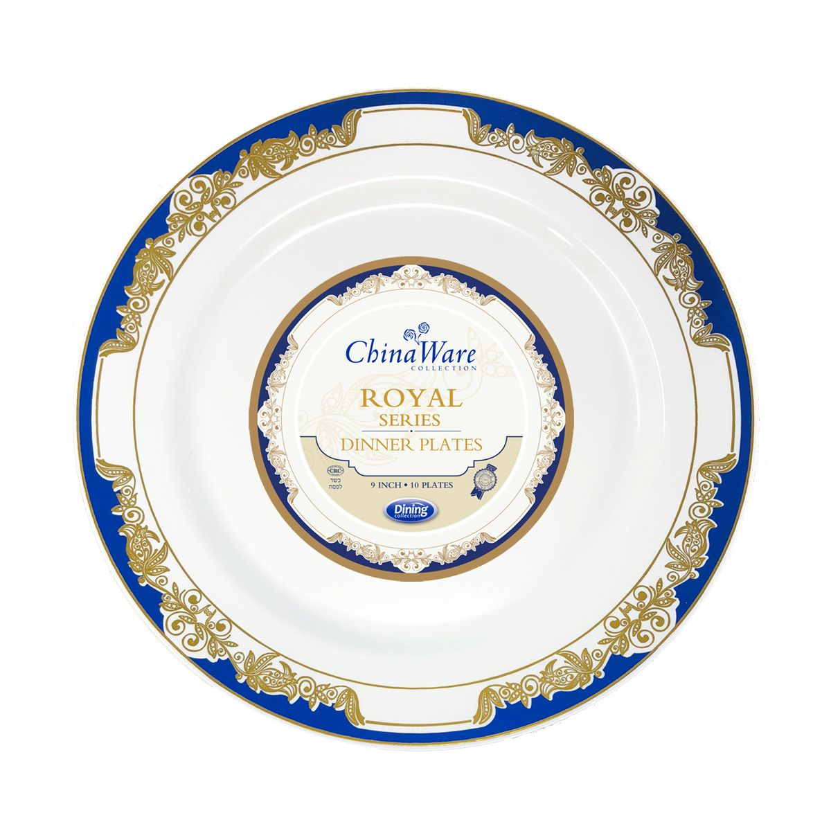 ChinaWare Royal 9  Dinner Plates - White/Cobalt/Gold - 10 Count ...  sc 1 st  Fantastic Inc & ChinaWare Royal 9