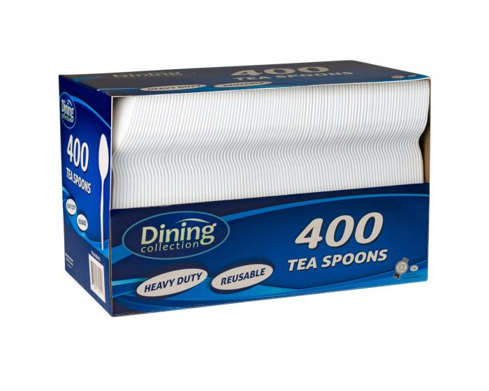 Dining Collection Teaspoons (Box) - White Plastic - 400 ct.