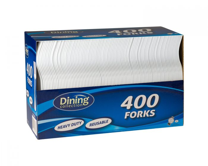 Dining Collection Forks (Box) - White Plastic - 400 ct.