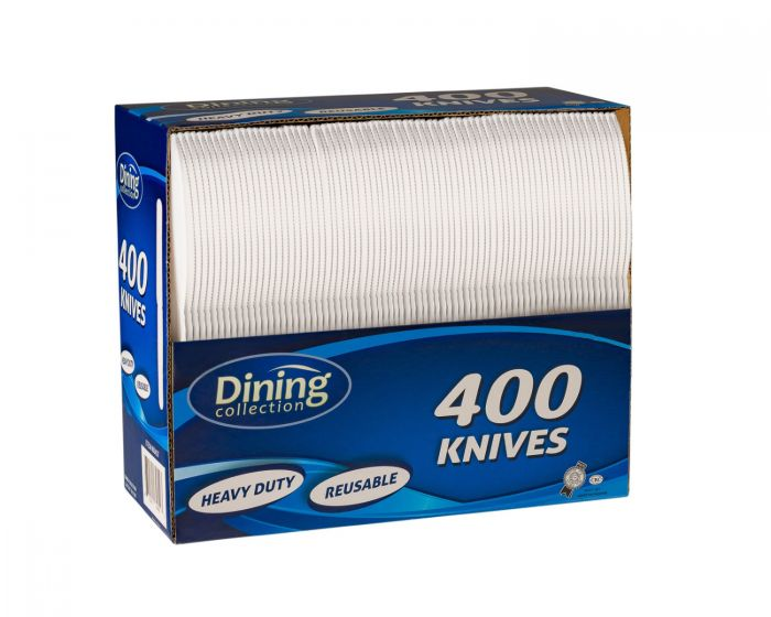 Dining Collection Knives (Box) - White Plastic - 400 ct.