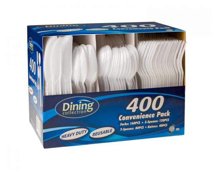 Dining Collection Heavy Duty Combo (Box) - White Plastic - 400 ct.
