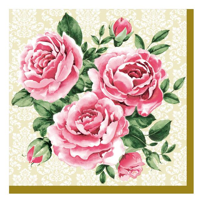 Dining Collection Lunch Napkins - Trio of Roses - 20 ct.