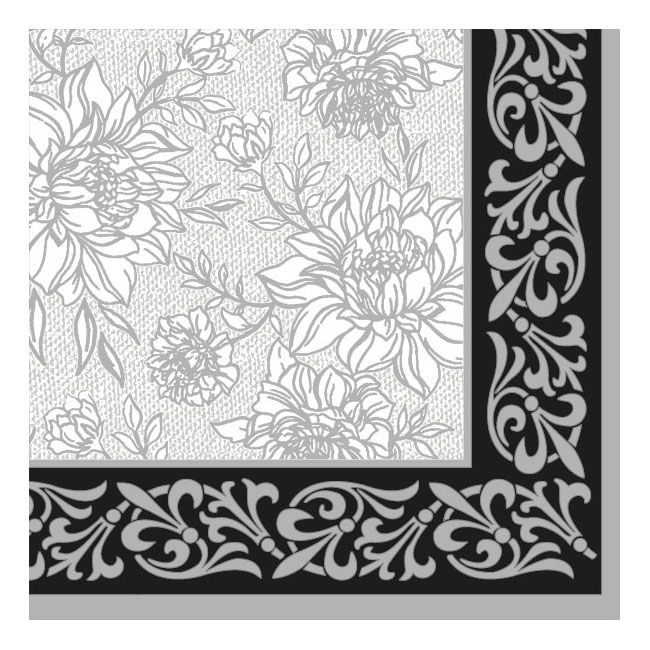 Dining Collection Lunch Napkins - Grey Petal Pride - 20 ct.