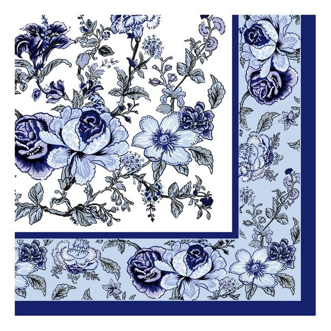 Dining Collection Lunch Napkins - Blue Bountiful Blossoms - 20 ct.