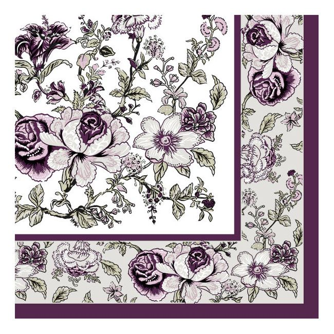 Dining Collection Lunch Napkins - Eggplant Bountiful Blossoms - 20 ct.