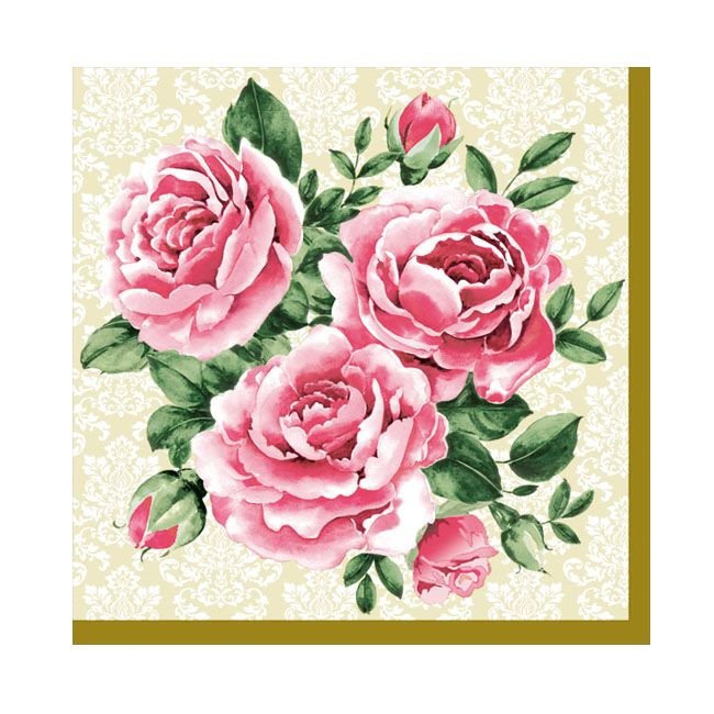 Dining Collection Cocktail Napkins - Trio of Roses - 20 ct.