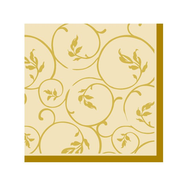 Dining Collection Cocktail Napkins - Golden Curlicue - 20 ct.