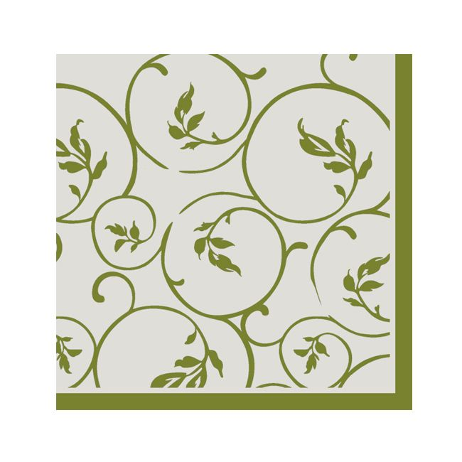 Dining Collection Cocktail Napkins - Olive Curlicue - 20 ct.