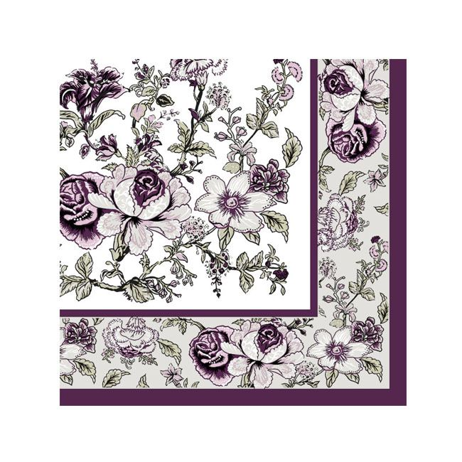 Dining Collection Cocktail Napkins - Eggplant Bountiful Blossoms - 20 ct.